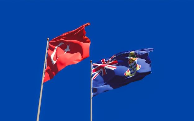 Флаги турции и каймановых островов. 3d изображение