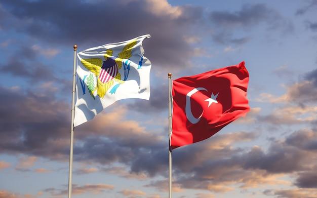 Флаги виргинских островов соединенных штатов и турции. 3d изображение