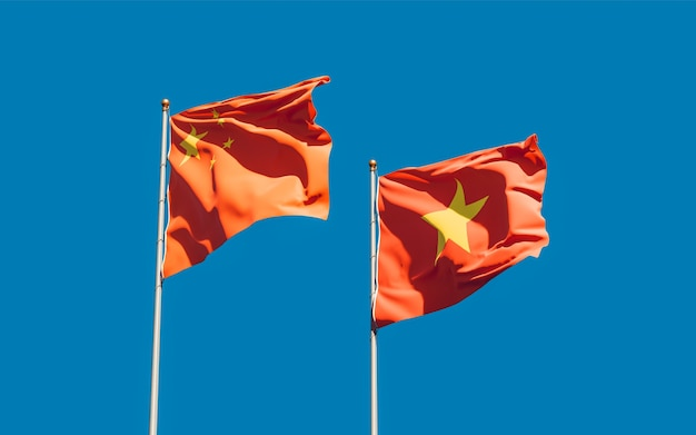 Флаги вьетнама и китая. 3d изображение