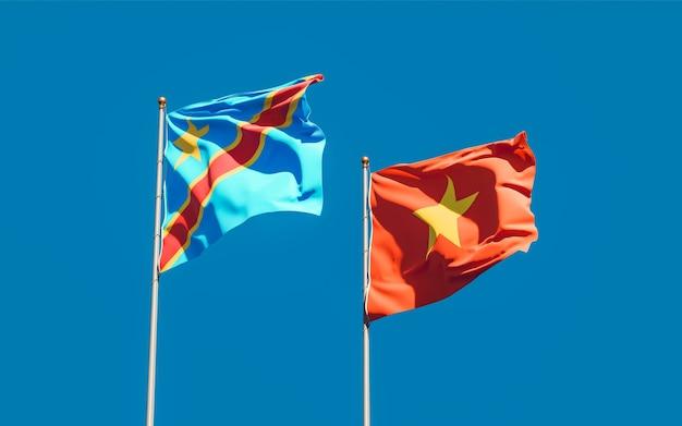 Флаги вьетнама и конго. 3d изображение