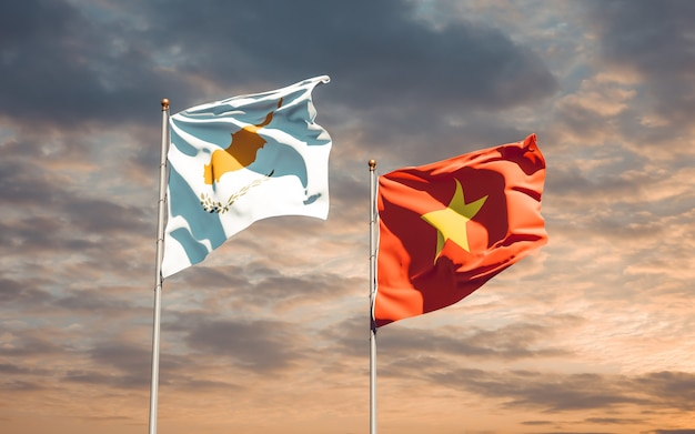 Флаги вьетнама и кипра. 3d изображение