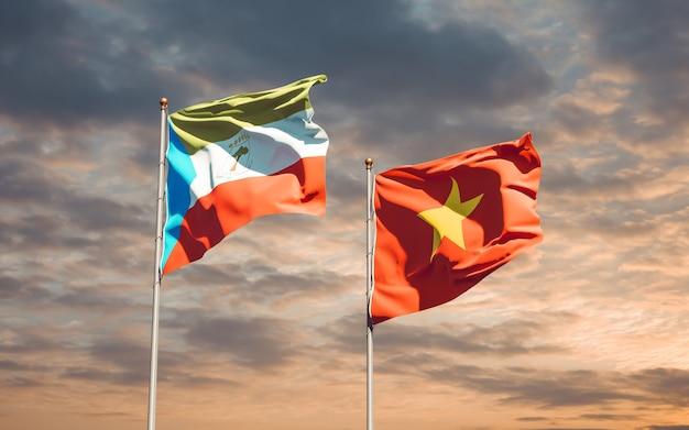 Флаги вьетнама и экваториальной гвинеи. 3d изображение