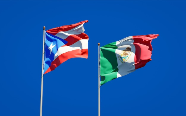 Flags of puerto rico and mexico. 3d artwork