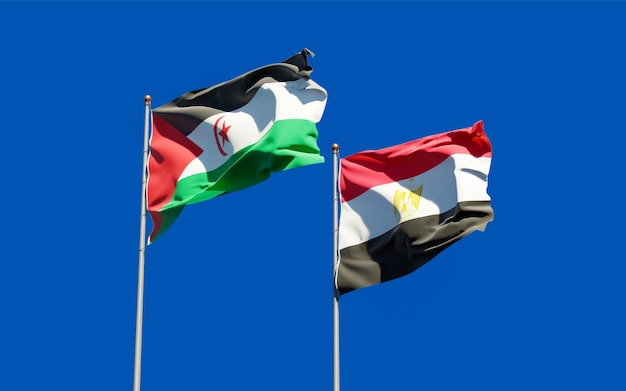 Flags of sahrawi and egypt. 3d artwork