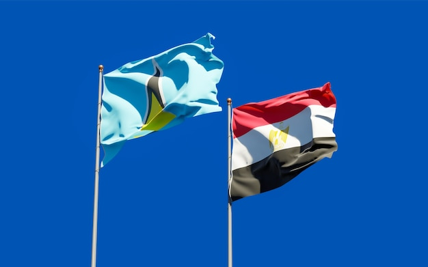 Flags of saint lucia and egypt. 3d artwork