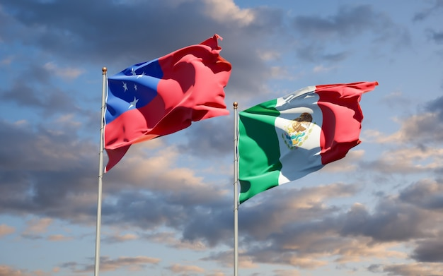 Flags of samoa and mexico. 3d artwork