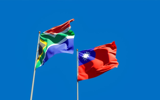 Flags of sar african and taiwan. 3d artwork