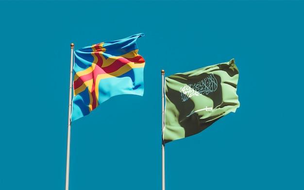 Flags of saudi arabia and aland islands. 3d artwork
