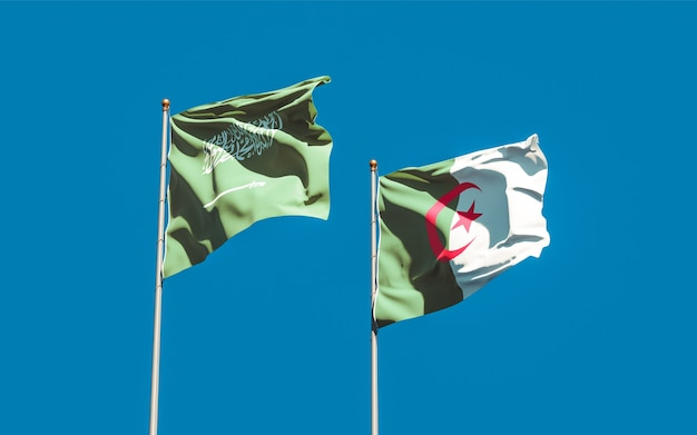 Flags of saudi arabia and algeria. 3d artwork