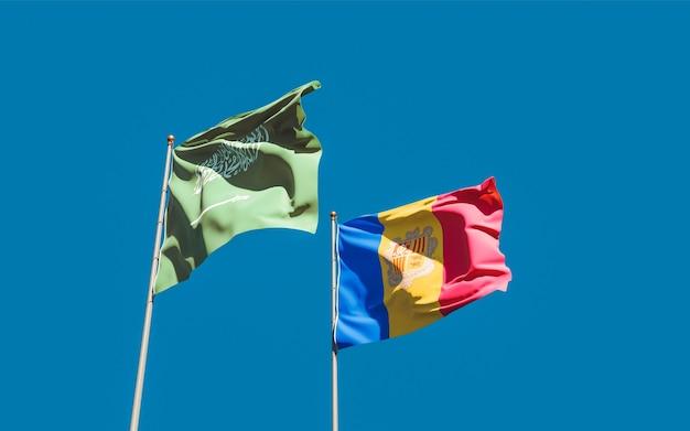 Flags of saudi arabia and andorra. 3d artwork