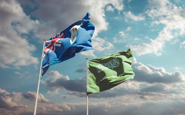 Flags of saudi arabia and anguilla. 3d artwork