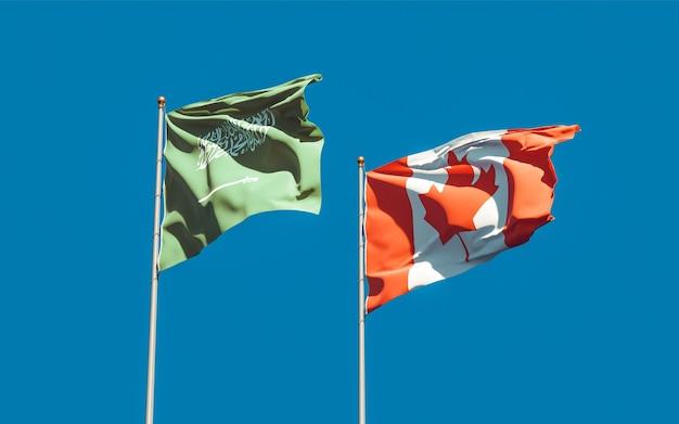 Flags of saudi arabia and canada. 3d artwork