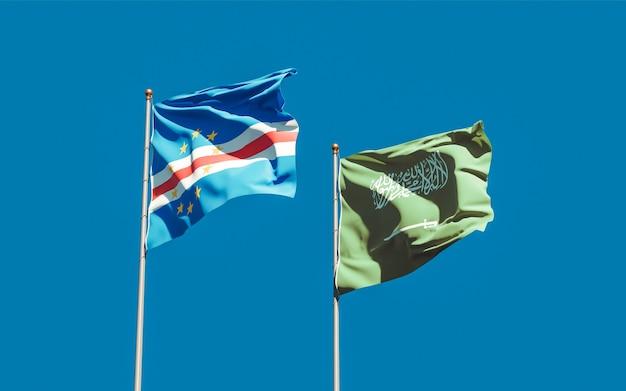 Flags of saudi arabia and cape verde. 3d artwork