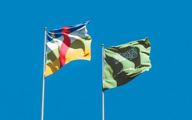 Flags of saudi arabia and car central african republic. 3d artwork