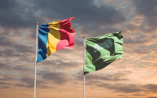 Flags of saudi arabia and chad. 3d artwork