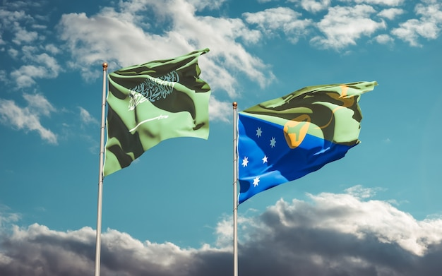 Flags of saudi arabia and christmas island. 3d artwork