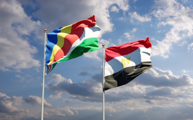 Flags of seychelles and egypt. 3d artwork