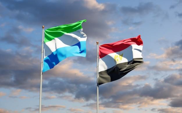 Flags of sierra leone and egypt. 3d artwork