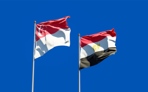 Flags of singapore and egypt. 3d artwork