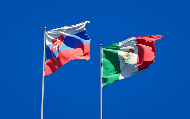 Flags of slovakia and mexico. 3d artwork