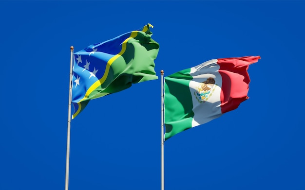 Flags of solomon islands and mexico. 3d artwork