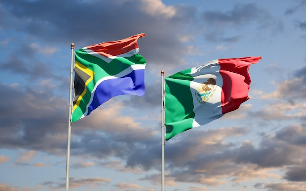 Flags of south africa and mexico. 3d artwork