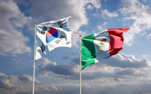 Flags of south korea and mexico. 3d artwork