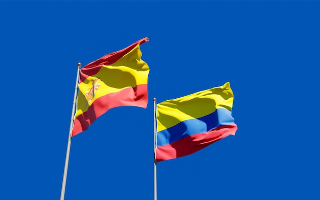 Flags of spain and colombia.