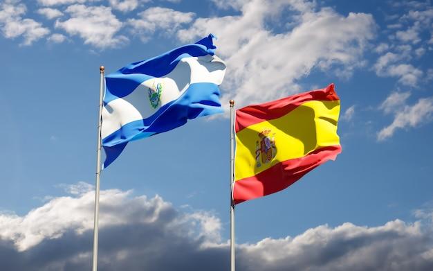 Flags of spain and el salvador.