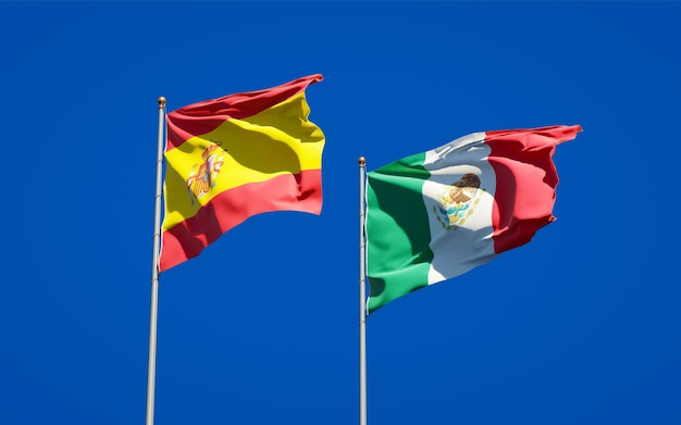 Flags of spain and mexico. 3d artwork