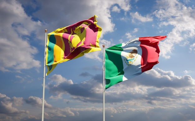 Flags of sri lanka and mexico. 3d artwork