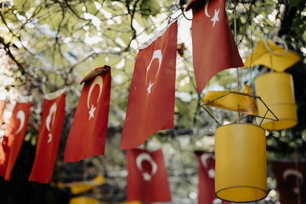 Flags on the street on a national holiday in turkey