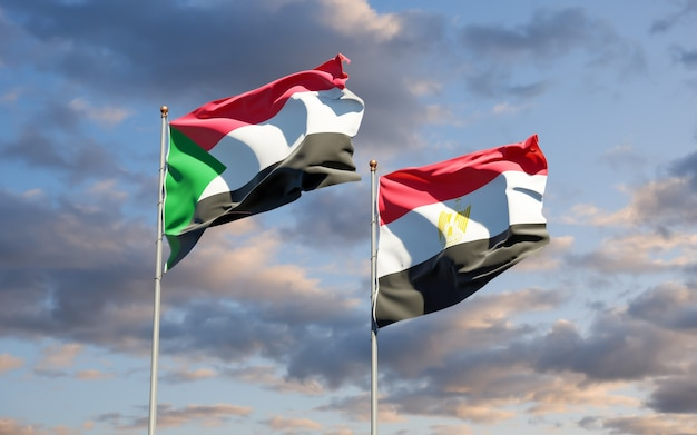 Flags of sudan and egypt. 3d artwork