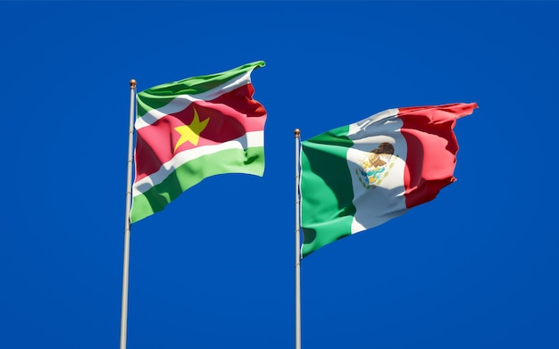 Flags of suriname and mexico. 3d artwork