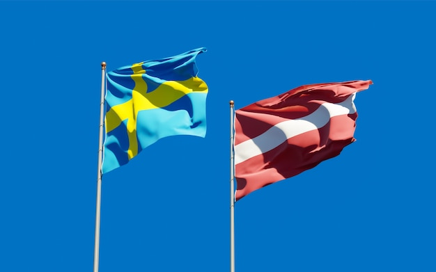 Flags of sweden and latvia. 3d artwork