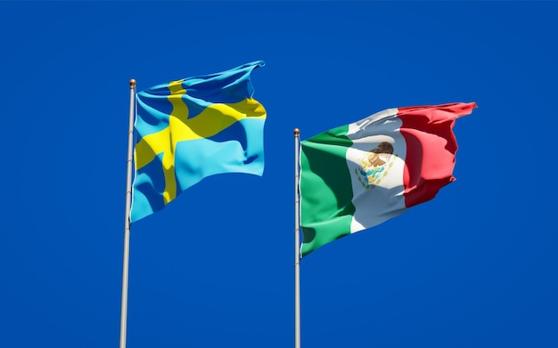 Flags of sweden and mexico. 3d artwork