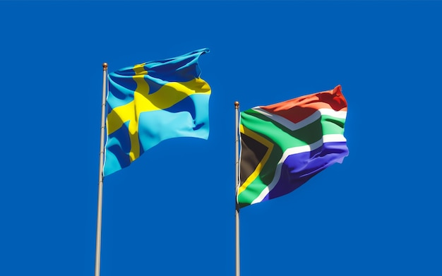 Flags of sweden and sar african. 3d artwork