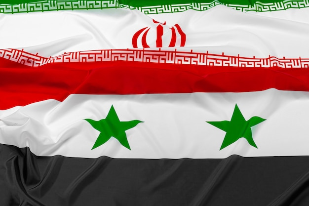 Flags of syria and iran together