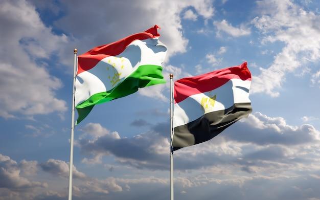 Flags of tajikistan and egypt. 3d artwork