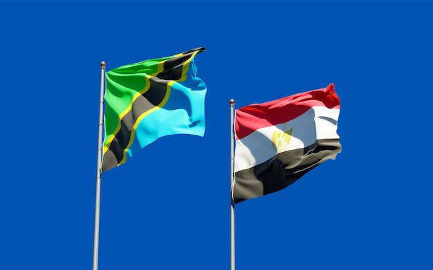 Flags of tanzania and egypt. 3d artwork