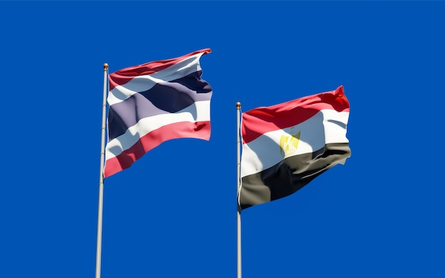 Flags of thailand and egypt. 3d artwork