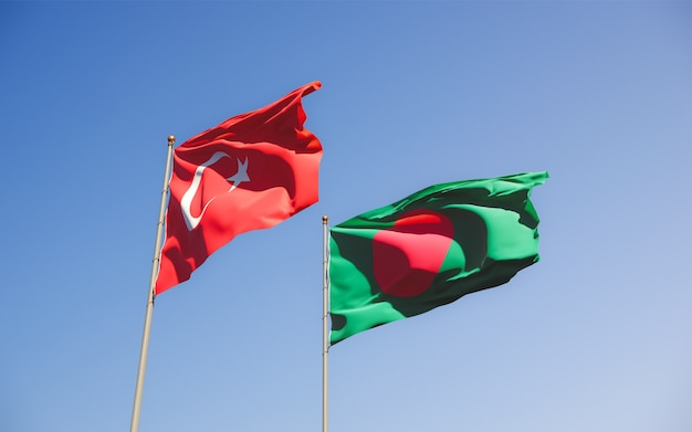 Flags of turkey and bangladesh. 3d artwork