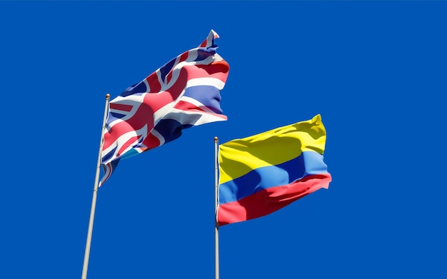 Flags of uk british and colombia. 3d artwork