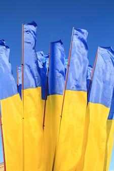 Flags of ukraine waving in the wind against deep blue sky.