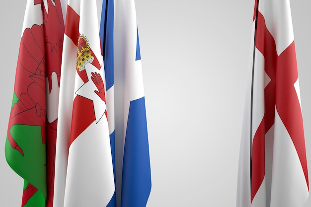 Flags of united kingdom - england, scotland, wales and northern ireland. contains clipping path