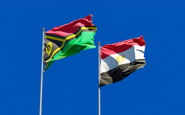 Flags of vanuatu and egypt. 3d artwork
