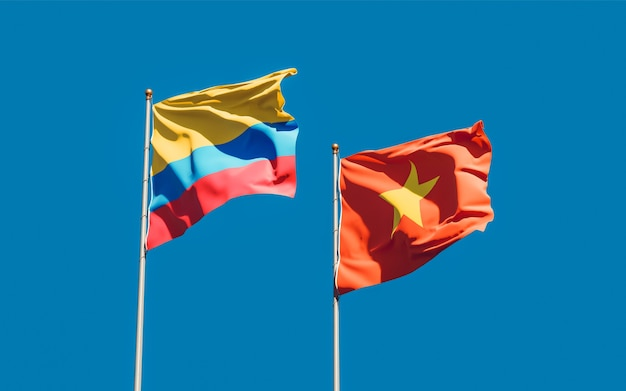Flags of vietnam and colombia. 3d artwork
