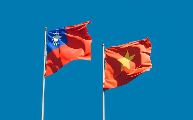 Flags of vietnam and taiwan. 3d artwork
