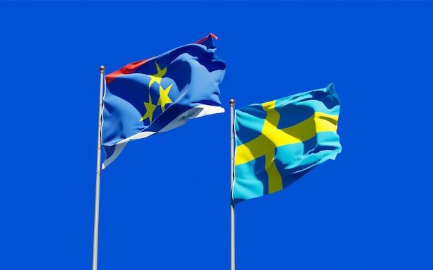 Flags of vojvodina and sweden. 3d artwork