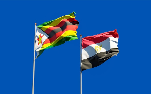 Flags of zimbabwe and egypt. 3d artwork